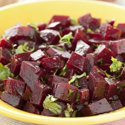 Beets with orange and mint